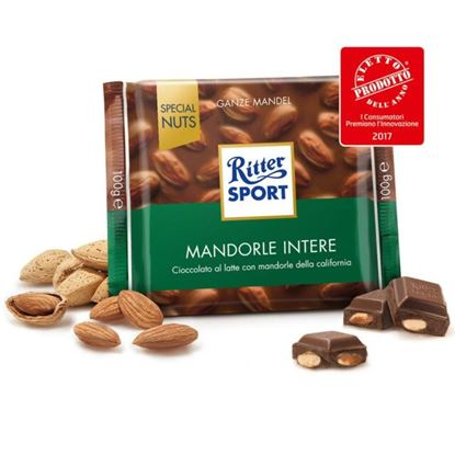 Picture of RITTER SPORT LATTE CON MANDORLE INTERE GR.100